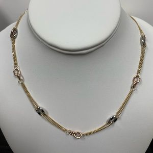 """14k Tri color Gold Fancy Necklace 18"""" inches"""